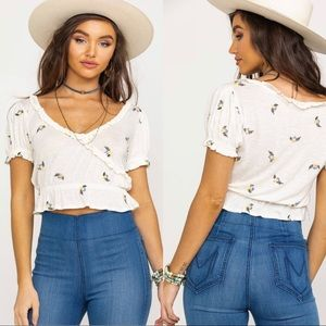 Free People Full Bloom Floral Embroidered Top XS